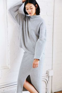 Grey knit sweater and matching knit skirt. Love the front split