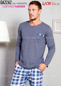 Pijama Barbati Gazzaz by Vienetta, 'Lounge' Denim Button Up, Button Up Shirts, Lounge, Pajamas, Lady, Long Sleeve, Sleeves, Model, Mens Tops