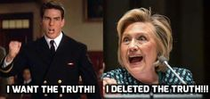 Hillary deleted emails that would have landed her and maybe even obama in prison! Just think what she could do to destroy our country if she was elected, her campaign is funded by the muslim brotherhood and the bilderberg group-she's their puppet