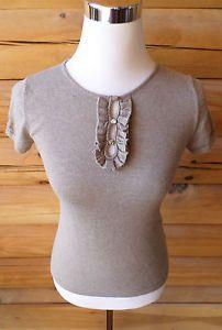 Womens Size XS GAP Fine Gauge Sweater Blouse, Ruffle Keyhole, Dark Beige. $9.99