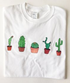 Cactus T-Shirt / Illustrated Unisex Tee Shirt Men's Women's Gift Christmas Clothing Birthday White Hand Drawn / Succulent plants t- shirt