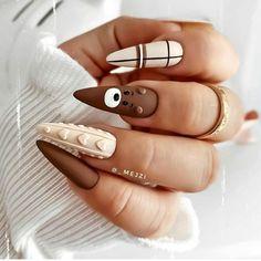 Edgy Nails, Chic Nails, Stylish Nails, Cute Acrylic Nail Designs, Best Acrylic Nails, Nail Art Designs, Xmas Nails, Christmas Nails, Sweater Nails