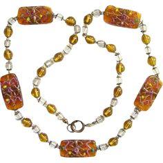 Vintage Art Deco Necklace Venetian Art Glass Beads Wedding Cake Honey Color 26…