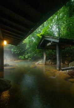Moyai-no-yu もやいの湯, 山河旅館 黒川温泉 阿蘇 熊本県 Hot Spring Bath at Sanga Ryokan (Inn)