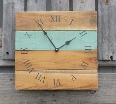 Rustic Coastal Sea Foam and Natural Square Clock