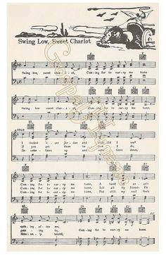 Roots Music Swing Low Sweet Chariot Spiritual Sheet by GospelHymns                                                                                                                                                                                 Más