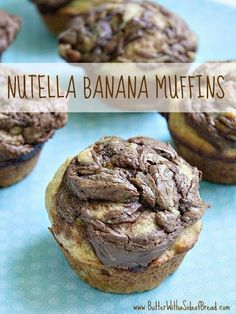 Nutella Banana Muffins add a little bit of Nutella to a delicious homemade banana muffin recipe! These muffins are perfect for breakfast, snack or a treat! Banana Nutella Muffins, Healthy Banana Muffins, Banana Bread, Yummy Treats, Delicious Desserts, Yummy Food, Healthy Food, Sweet Treats, Granola