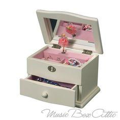 Stunning Ivory Musical Ballerina Jewelry Box - Marianne - by Mele