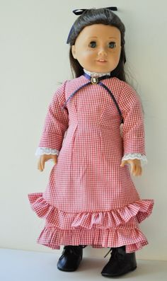 American Girl doll clothes Laura Ingalls dress, stockings, shoes on Etsy, $30.00