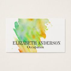 Blue green gold watercolor splatter professional business card chic green yellow hand painted watercolor effect business card reheart Gallery