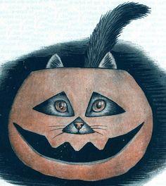 Vintage Halloween kitty cuteness. #vintage #cats #Halloween #pumpkins