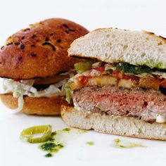 Pepper Jack Cheeseburgers with Jalapeño-Cumin Sauce // Fabulous Cookout Recipes: http://www.foodandwine.com/slideshows/cookout-party/1 #foodandwine