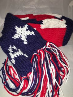Captain America Inspired Hand-Knitted Scarf