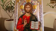 Seriograph icon crafted in canvas on wood with silver coating, locally gilded. With this icon you will receive a free stand. Religious Icons, Art Store, Jesus Christ, Christianity, Canvas, Videos, Silver, Crafts, Fictional Characters