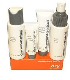 Dermalogica Skin Kit - Dry 4 piece by Dermalogica. $24.00. Dermalogica Dry Skin Kit--6pcs. Fragrance Notes:. Recommended Use:. Dermalogica Custom Gift Band Selective Dry Skin Kit - Includes 4 travel size items*Special Cleansing Gel 250ml*Skin Smoothing Cream 50ml*Multi-Active Toner 250ml*Exfoliating Face Brush