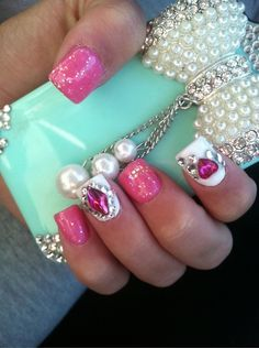 Pink striped french eiffel tower nails barielle white for 3d nail art salon new jersey