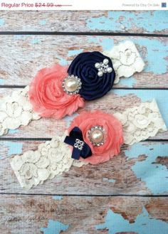 NEW SALE wedding garter / bridal  garter/  lace garter / toss included , navy rosette , coral  chiffon  , ivory lace