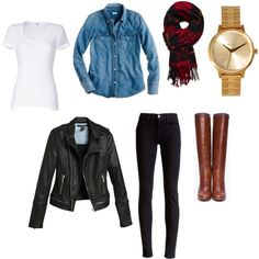 loving the black leggings/jeggings and chambray top combo for fall!