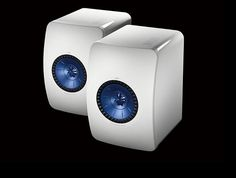 The KEF LS50s, shown in white; they're also available in black.