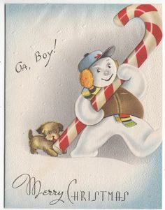 Vintage Dog Licking Snowman's Candy Cane Christmas Greeting Card
