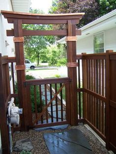 New japanese style cedar wood garden arbor pergola arch for Japanese wooden garden structures