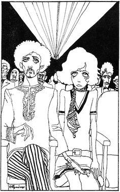 by Aquirax Uno (Akira Uno) Art Sketches, Art Drawings, Acid Art, Ligne Claire, Japanese Artists, Psychedelic Art, Pretty Art, Manga Art, Collage Art
