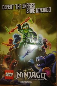"Lego NINJAGO large poster 19"" x 26.5"" : green ninja lloyd, kai, zane, cole, jay   eBay"