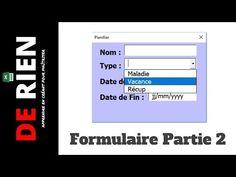 Crée un formulaire excel pour remplir un tableau 2/3   Tutoriel Excel -DE RIEN - YouTube