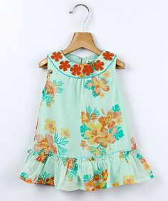 Take a look at this Mint Green Tropical Floral Georgette Dress - Infant today! Girls Dresses, Summer Dresses, Cute Girl Outfits, Drop Waist, Toddler Girl, Infant Toddler, Kids Wear, Baby Dress, Floral Tops