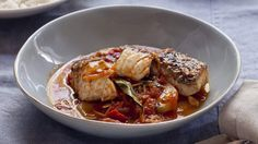 Blue eye cod with tomato, potato, ginger and curry leaves. Karen Martini FISH, FOWL