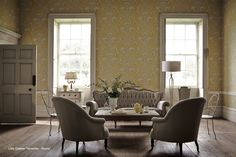 little greene versailles royale wallpaper has a rococo style, features scrollwork and flowers in yellow with off white detailing Little Greene Paint Company, Versailles, French Wallpaper, Luxury Wallpaper, Painting Wallpaper, Print Wallpaper, Wallpaper Manufacturers, Piece A Vivre, Rococo Style
