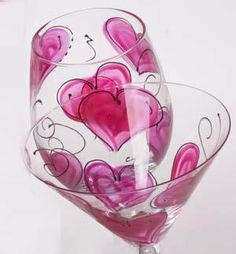 Leslie Hand Painted Heart Glasses - Great for Valentines Day or a romantic dinner!