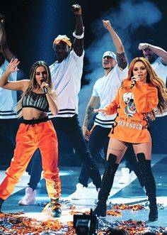 Perrie and Jesy on stage at the KCA's 2017