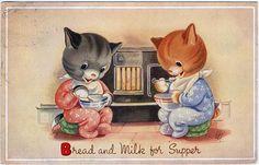 Bread and Milk for Supper (Valerie Hodge postcard) via dakota_boo