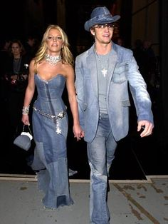 Britney Spears and Justin Timberlake in denim outfits (basically how we'd look.)
