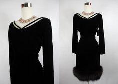 1950 Black Velvet and Fur Trimmed Cocktail by vintagebluemoon, $295.00