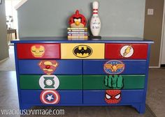 kids furniture kid s superhero diy dresser makeover, bedroom ideas, painted furniture Diy Dresser Makeover, Dresser Makeovers, Furniture Makeover, Dresser Ideas, Furniture Repair, Deco Kids, Kids Dressers, White Dressers, Superhero Room