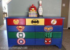 kid s superhero diy dresser makeover, bedroom ideas, painted furniture