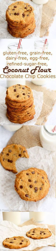 Coconut flour cookies are for just about anyone to eat - they are gluten-free, dairy-free, grain-free, refined sugar-free, and egg-free. Super chewy and studded with chocolate chips, they go perfect with a glass of milk.