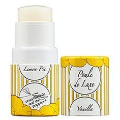Crazylibellule and the Poppies - Poule de Luxe - Vanilla Lemon Pie  With top notes of orange and neroli; heart notes of almond and caramel; and base notes of heliotrope and vanilla; you can seduce the nape of your neck, the tender spot behind your knee, around your navel or add a delicate caress on your inner wrists with this beautiful solid twist up perfume. Use it alone or by mixing and matching it with any other scent from Crazylibellule's Poule de Luxe Collection.