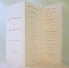 3 fold wedding program - simple with lots of info...