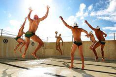 Australian water polo team in green speedos