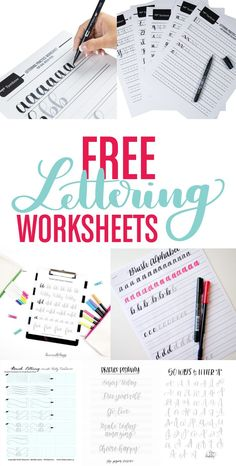 FREE lettering worksheets to help you begin practicing and jumpstart your lettering journey. Tombow's Free Lettering Worksheets We've created sets of free lettering worksheets sized specifically for our Dual Brush Pens and Fudenosuke Calligraphy … Lettering Brush, Hand Lettering Practice, Creative Lettering, Lettering Styles, Brush Lettering Worksheet, Bullet Journal Fonts Hand Lettering, Calligraphy Practice Sheets Free, Lettering Tattoo, Tattoo Ink