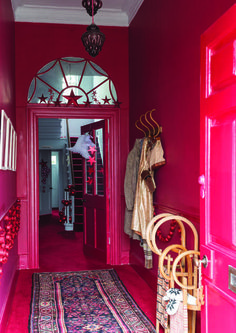 Hallway in Rectory Red by Farrow & Ball