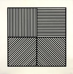 Sol LeWitt, A Square Divided Horizontally and Vertically into Four Equal Parts, Each with a Different Direction of Alternating Parallel Bands of Lines, 1982