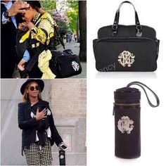 Beyonce and Blue Ivy with Roberto Cavalli black signature set diaper bag, first with the diaper bag and another time with matching bottle holder. Bottle holder is large and holds most bottles in the insulated holder with carry handle.    *courtesy of Delortae Agency luxury authentic handbag SPA, visit us on Facebook; www.facebook.com/DelortaeAgency