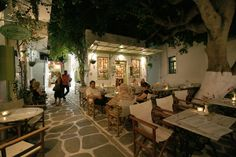 Local cafe by night in Paros island during summer Paros Greece, Paros Island, Cool Bars, Greek Islands, Nightlife, Travel Destinations, Trips, Restaurants, Patio