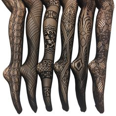 Add a touch of personality and flirtiness to your wardrobe with this set of assorted fishnet tights. Featuring six different patterns, this set is perfect for all seasons. Pair with a cocktail dress a