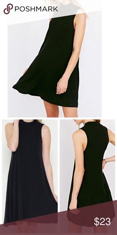 Black jersey mock neck dress Chic black sleeveless jersey rayon knot with spandex mock neck swing dress PLEASE USE Poshmark new option you can purchase and it will give you the option to pick the size you want ( all sizes are available) BUNDLE And SAVE 10% ( sizes updated daily ) Dresses