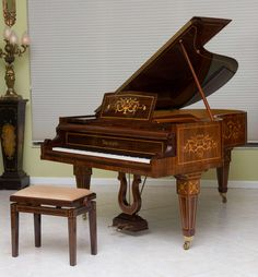 Rare and Historically Significant Marquetry Inlaid Grand Piano, Bösendorfer   From a unique collection of antique and modern musical instruments at https://www.1stdibs.com/furniture/more-furniture-collectibles/musical-instruments/